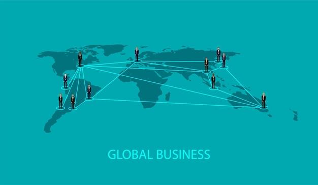 Globaal bedrijfsconcept met mensen
