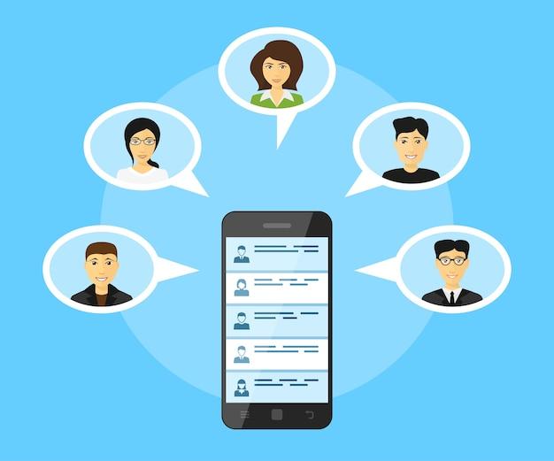 Globaal communicatieconcept, foto van mobiele telefoon met mensenavatars, stijlillustratie