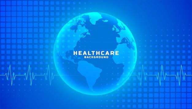 Globaal gezondheidszorg medisch achtergrond blauw kleurenthema