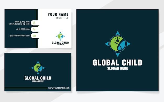 Globaal kinderlogo-sjabloon in moderne stijl