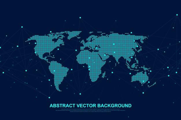 Globaal structuurnetwerken en gegevensverbindingsconcept. sociale netwerkcommunicatie in de wereld