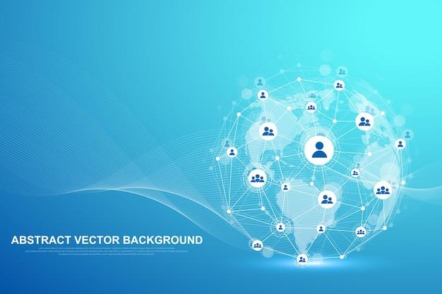 Globaal structuurnetwerken en gegevensverbindingsconcept.