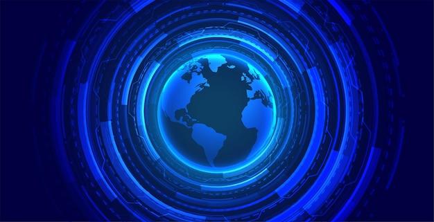 Globaal technologieconcept gloeiend behang