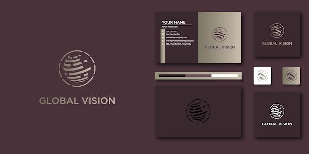 Global business logo briefsjabloon met modern concept en visitekaartje ontwerp