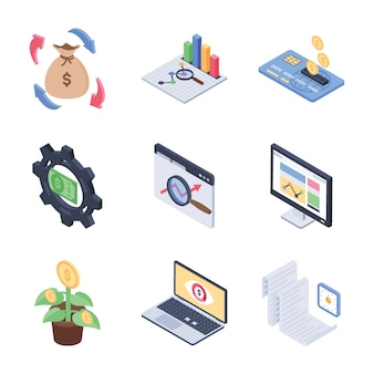 Global, fondsenwerving en financiële trends isometrisch icons pack