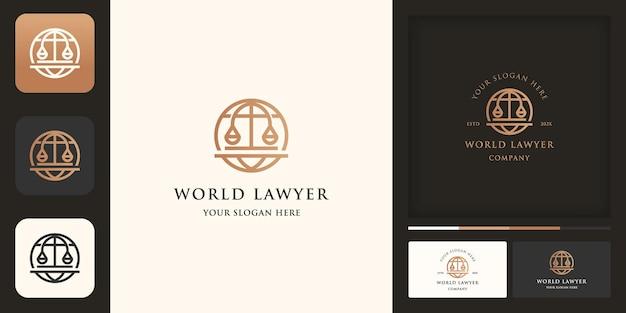 Global law-logo, wereldbol met juridische schalen Premium Vector