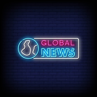 Global news neon signs style text