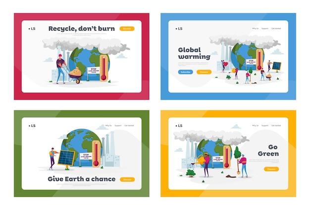 Global warming care van planten op aarde met fabriekspijpen die rook uitstoten