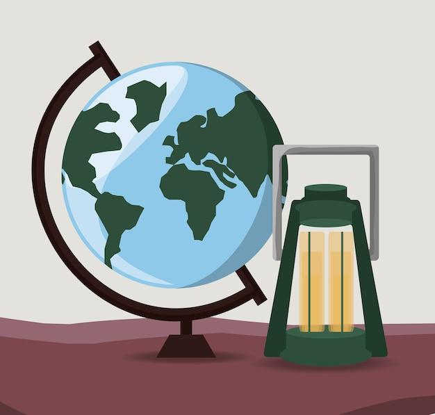 Globale aardeplaneet met lantaarn om de aventure te onderzoeken