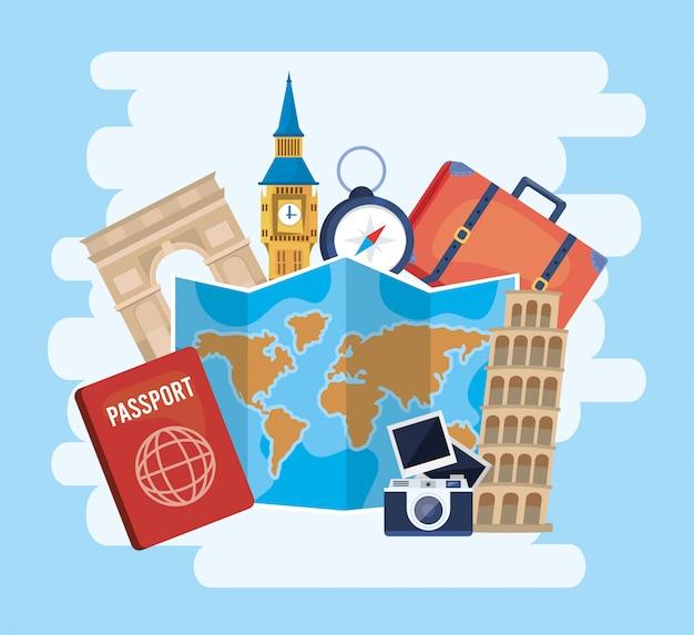 Globale kaart naar bestemming met paspoort en camera met foto's