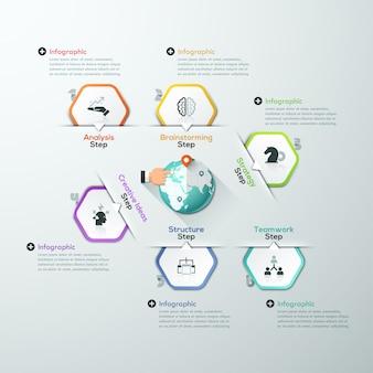 Globale sjabloon infographic gemaakt van papieren polygonen