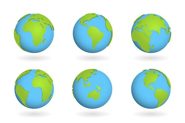 Globe aarde wereldteken. 3d-kaart