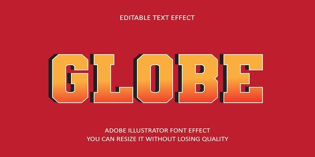 Globe bewerkbaar teksteffect