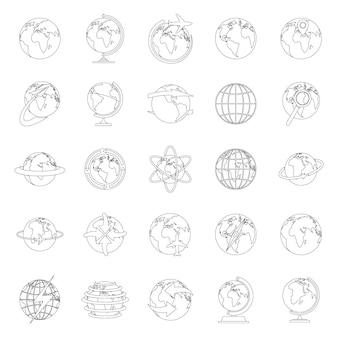 Globe earth-pictogrammen instellen