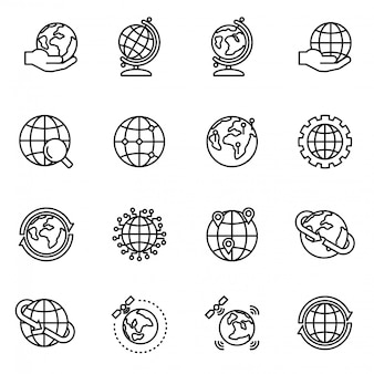 Globe en aarde geografie grafische icon set. planet earth-cartografie.
