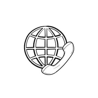 Globe en telefoon ontvanger hand getrokken schets doodle pictogram. wereldwijde communicatie, internationaal bellenconcept. schets vectorillustratie voor print, web, mobiel en infographics op witte achtergrond.