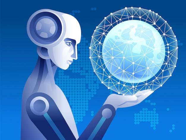 Globe in de robotachtige hand