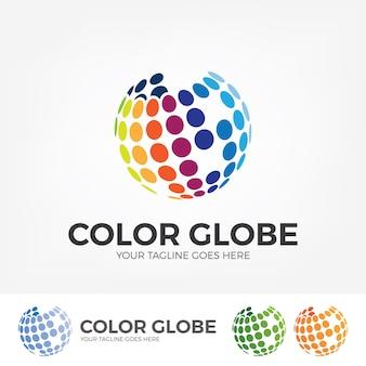 Globe-logo met kleurrijke stippen.