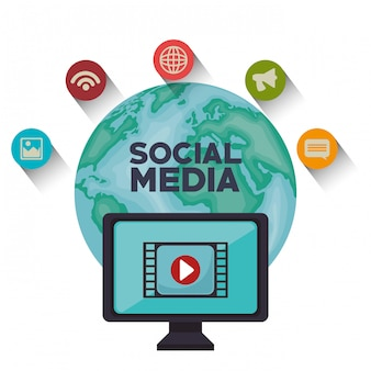 Globe monitor sociale media geïsoleerd pictogram ontwerp