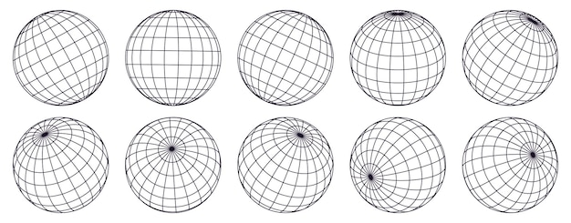 Globe raster bollen. gestreepte 3d-bollen, geometrie wereldbolraster, breedtegraad en lengtegraad van de aarde rasterset