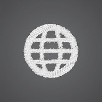 Globe schets logo doodle pictogram geïsoleerd op donkere achtergrond
