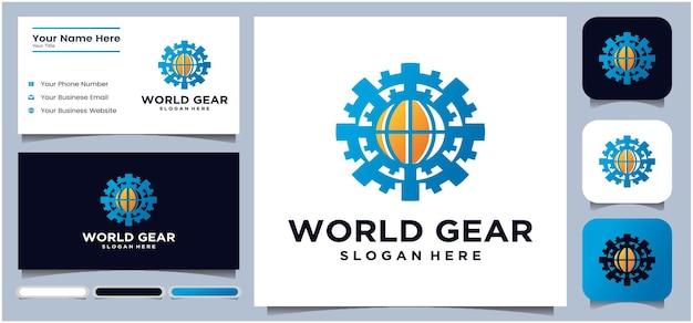 Globes en versnellingen vector pictogram world tech logo design logo ontwerpsjabloon