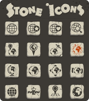 Globes vector iconen voor web- en gebruikersinterfaceontwerp