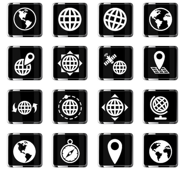 Globes-webpictogrammen voor gebruikersinterfaceontwerp