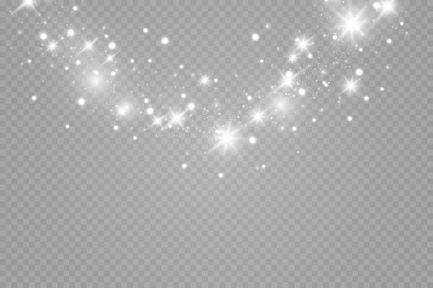 Gloed effect. een flits van kerststof, sprankelende bokeh.