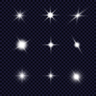 Gloed effect. ster op transparante achtergrond. heldere zon.