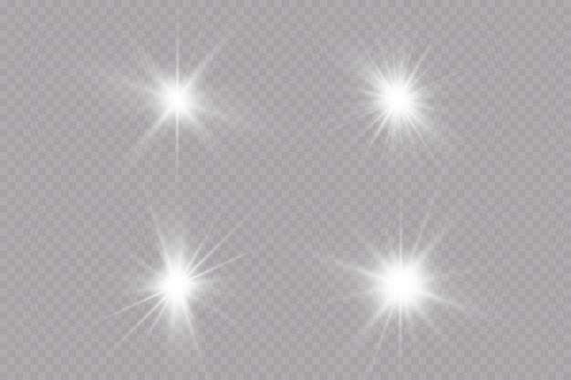Gloed effect ster op transparante achtergrondheldere zon vectorillustratie