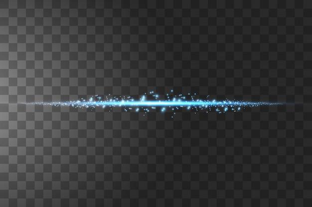 Gloed geïsoleerd blauw transparant effect, lensflare, explosie, glitter, lijn, zonneflits, vonk en sterren.