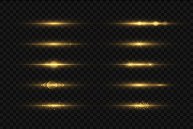 Gloed geïsoleerd geel lichteffect set, lens flare, explosie, glitter, lijn, zonneflits en sterren.