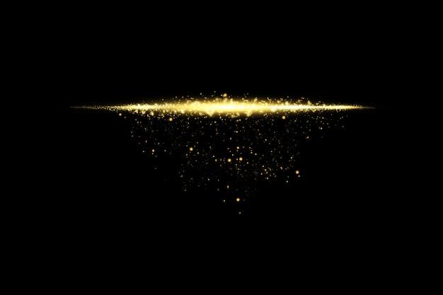 Gloed geïsoleerd gouden transparant effect, lensflare, explosie, glitter, lijn, zonneflits, vonk en sterren.