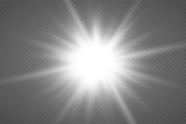 Gloed geïsoleerd wit transparant lichteffect ingesteld lens flare explosie glitter lijn zon