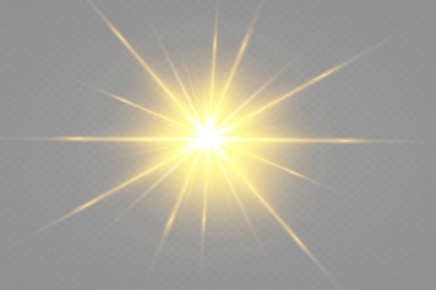 Gloed geïsoleerde witte transparante lichteffectset, lensflare, explosie, glitter, lijn, zonneflits, vonk en sterren.