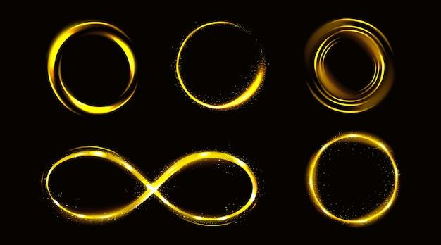 Gloed gouden oneindigheidssymbool en cirkels met glitters