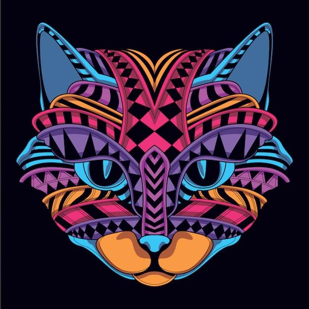 Gloed in het donkere decoratieve kattengezicht