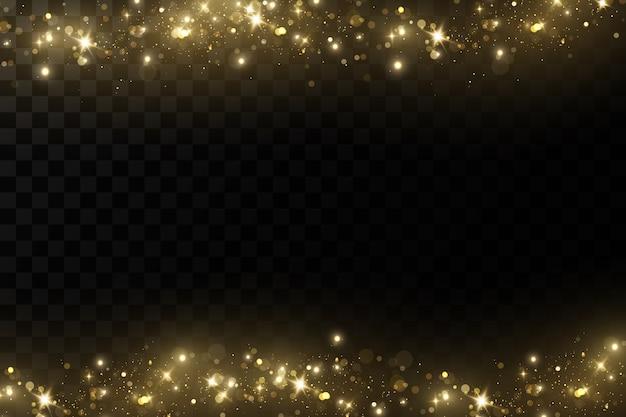 Gloed licht effect. sprankelende magische stofdeeltjes. de stof vonken en gouden sterren schijnen mee