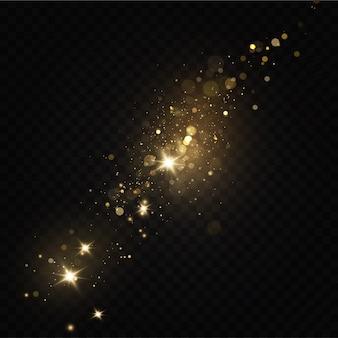 Gloed licht effect. sprankelende magische stofdeeltjes. stof vonken en gouden sterren schijnen.