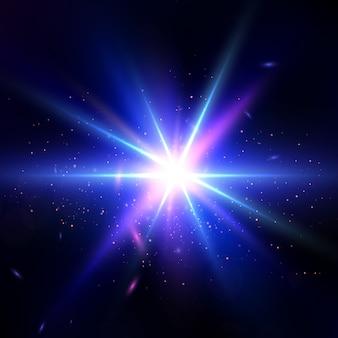 Gloed lichteffect. ster barstte uit met glitters. lens flare