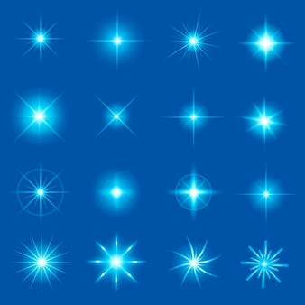 Gloed lichteffect sterren barst met sparkles.