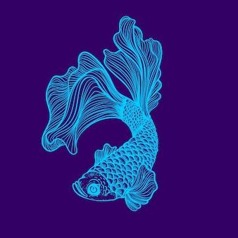 Gloed lineart neon kleur van vis