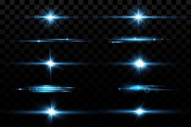 Gloedeffect blauwe gloeiende deeltjes sterren vectorillustratie