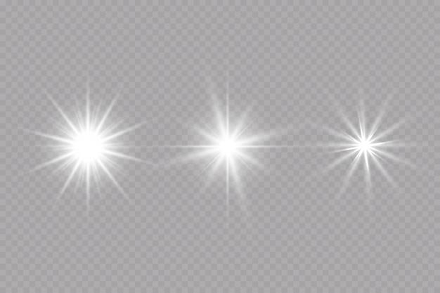 Gloedeffect ster op transparante achtergrond heldere zon vectorillustratie