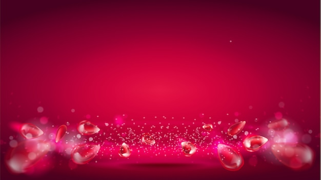 Gloedgolf of lichte aura op rode achtergrond