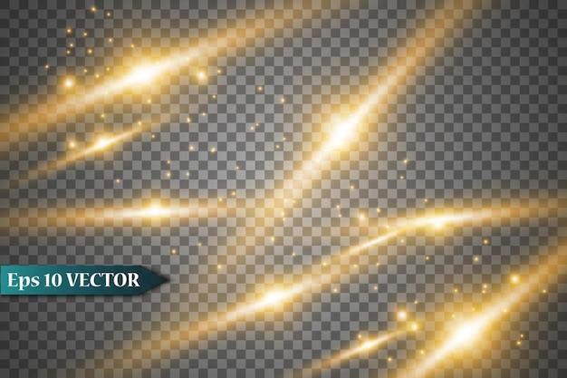 Gloedlichteffect met vonken en gouden sterren schijnen met speciaal licht.