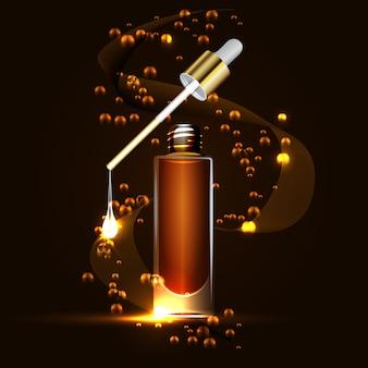 Gloednieuwe patroon cosmetische advertenties, glazen fles druppels essentie-olie geïsoleerd op bruine achtergrond.