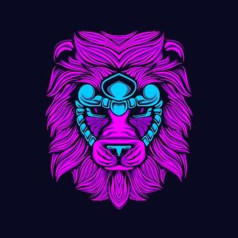 Gloedstijl leeuw kunstwerk