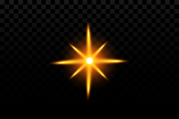 Gloei-effect gouden ster op transparant